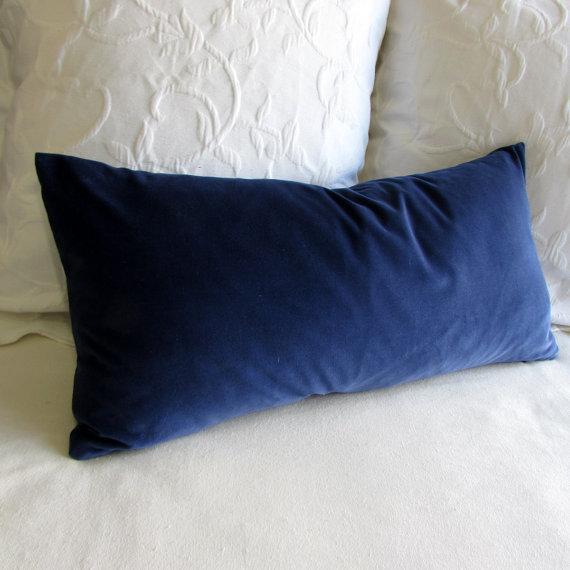 navy velvet lumbar rectangular bolster pillow