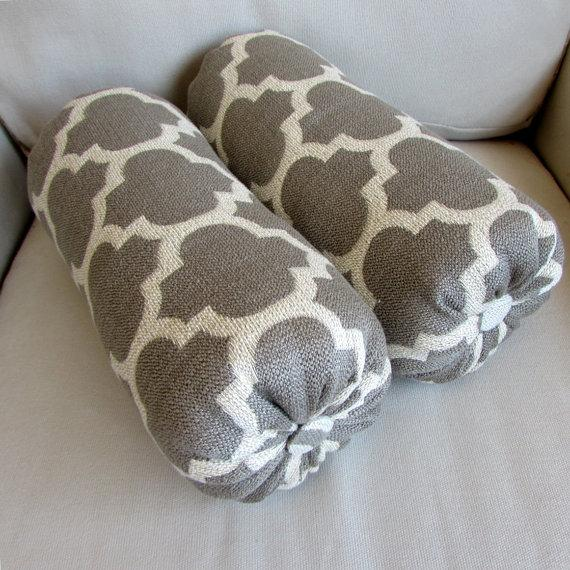 platinum woven gray geometric bolster pillow view full size
