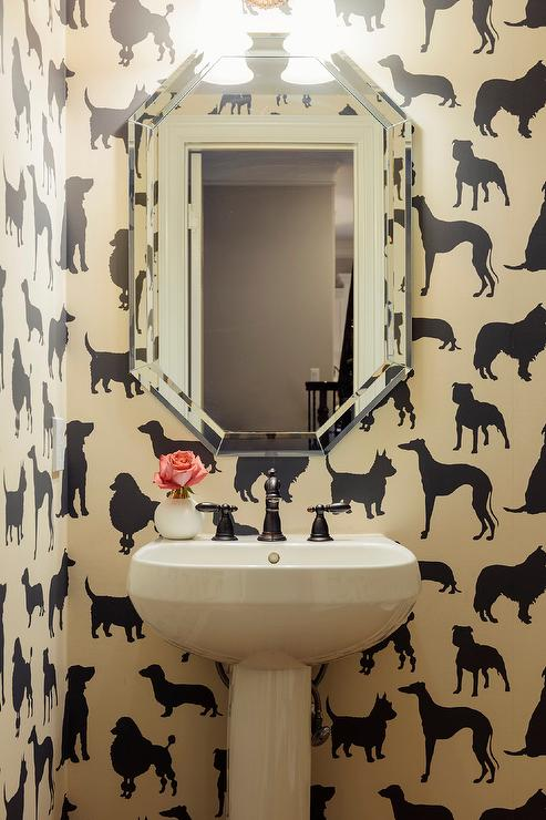 Dog Print Wallpaper ivory and black dog print wallpaper design ideas