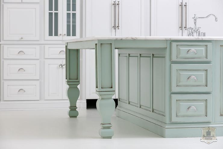 Green Kitchen Island With White Cabinets