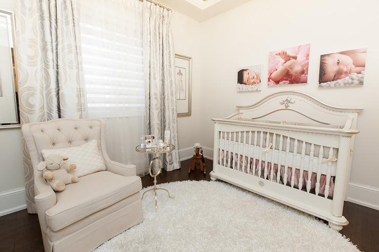 Genial Ivory And Beige French Nursery With Wingback Glider