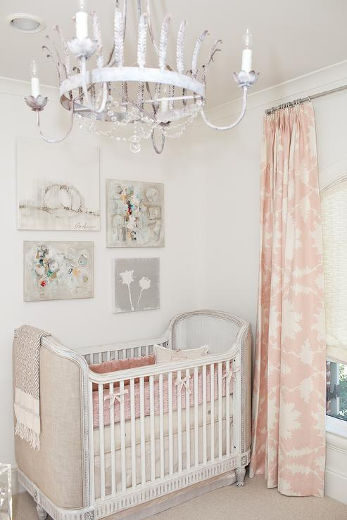 French nursery with pink curtains french nursery for Curtain fabric for baby nursery