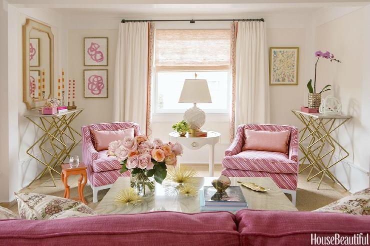 Gold And Pink Living Room Design