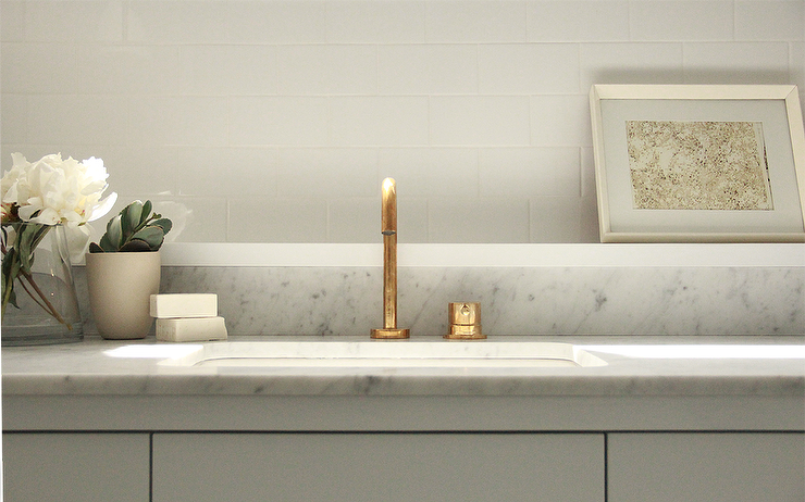 Carrera Marble Bathroom Vanity Top with Aged Brass Gooseneck Faucet ...
