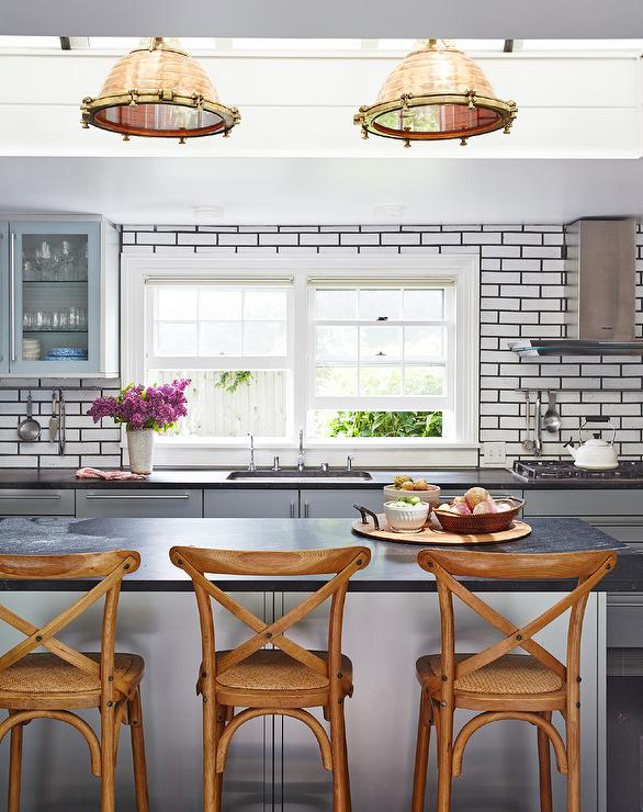 Copper Industrial Island Pendants With Gray Flat Front