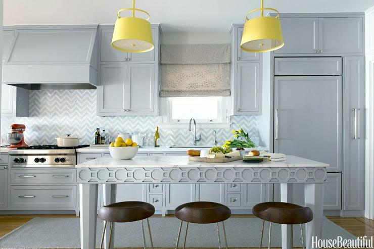 Grey Kitchen With Blue Accents yellow and blue kitchen design ideas