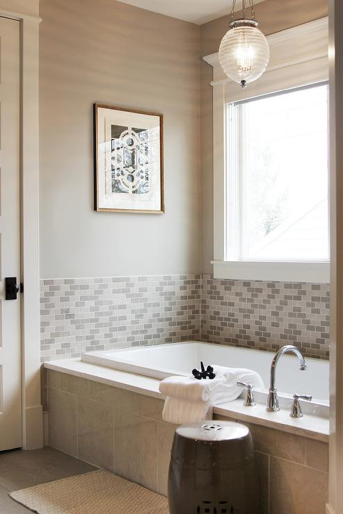 Gray Tiled Tub with Robert Abbey Beehive Pendant. Gray Tiled Tub with Robert Abbey Beehive Pendant   Transitional