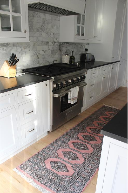 White Kitchen With Pink And Gray Runner Transitional