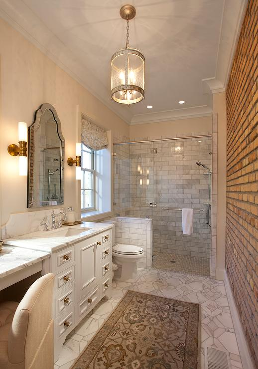 Long Bathroom With Exposed Brick Walls And Corsica Lantern View Full Size