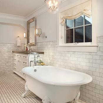 White And Yellow Bathroom With Claw Foot Tub Contemporary Bathroom