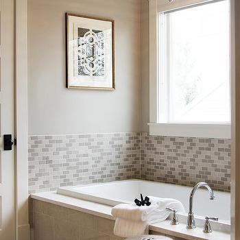 Great Gray Tiled Tub With Robert Abbey Beehive Pendant