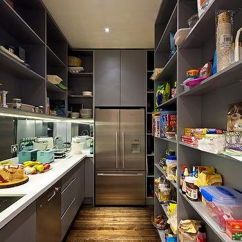 Gray Pantry With Full Size Refrigerator