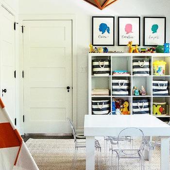Playroom With Ikea Kallax Shelving Unit And Burlap Pin