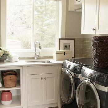 Striped schoolhouse pendant over laundry sink for Second floor laundry
