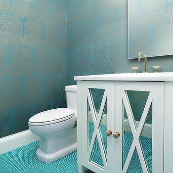 Blue bathroom with turquoise tiles contemporary bathroom for Blue and silver bathroom ideas