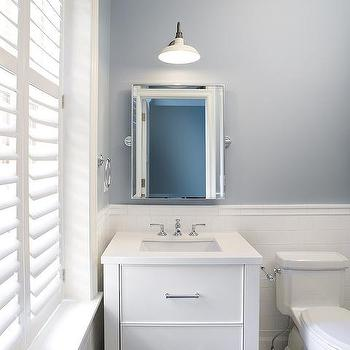 Charmant Slate Blue Bathroom Walls With White Subway Tiles