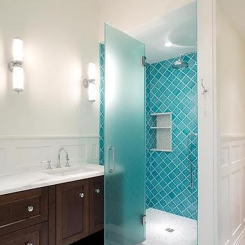 turquoise arabesque tiles with frosted glass shower door - Shower Tile Design Ideas