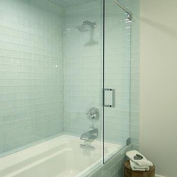 Turquoise Arabesque Tiles With Frosted Glass Shower Door