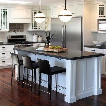Black And White Kitchen Island With Ralph Lauren McCarren Globe Large  Pendants