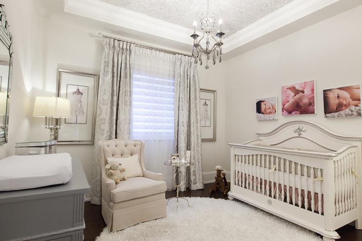 French Nursery With Silver Damask Wallpaper On Ceiling