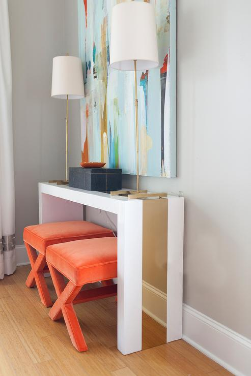 White And Gold Waterfall Console Table With Orange Velvet X Stools