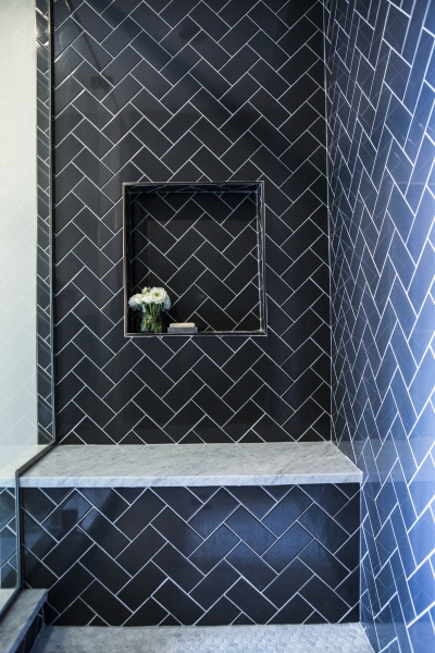 Shower With Navy Subway Herringbone Tiles Contemporary