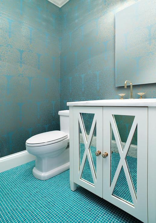Silver and turquoise damask wallpaper with ocean blue tile for Blue and silver bathroom accessories