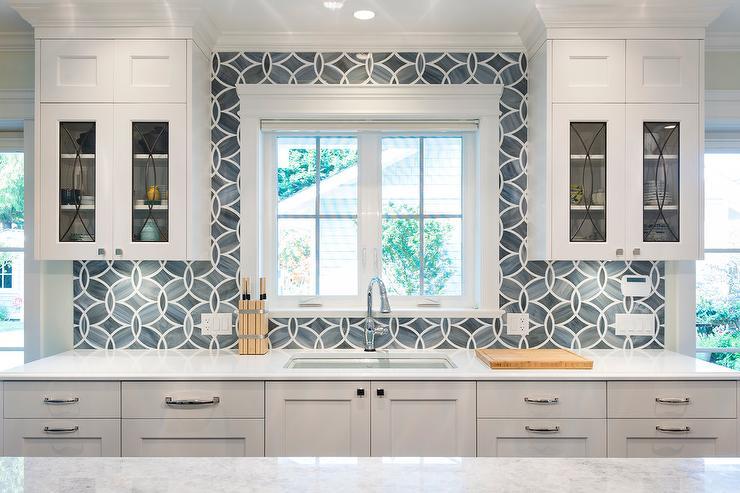 Blue Kitchen Tile Backsplash With Glass Eclipse Cabinets Adorable Ann Sacks Glass Tile Backsplash
