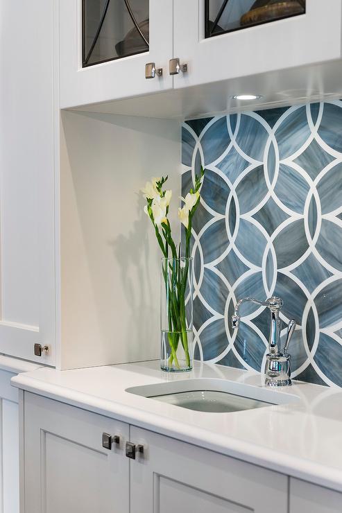 Blue Geometric Kitchen Backsplash Tiles with White Cabinets - Blue Geometric Kitchen Backsplash Tiles With White Cabinets