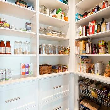White Walk In Pantry With Wire Pull Out Bins