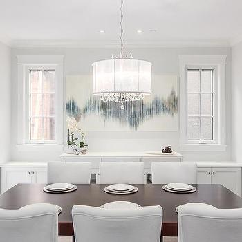 White And Gray Dining Room With Built In Sideboard Cabinet