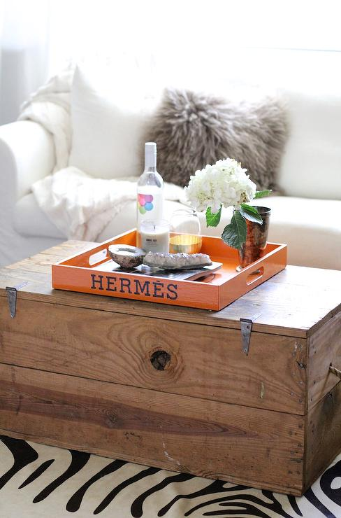 Remarkable Trunk Coffee Table With Orange Hermes Tray Transitional Gamerscity Chair Design For Home Gamerscityorg