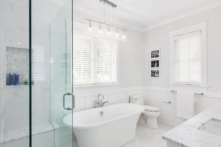Extra White Bathroom Wainscoting With Carrera Marble Like