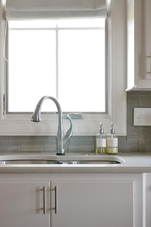 cabinets with gray subway tile backsplash contemporary kitchen