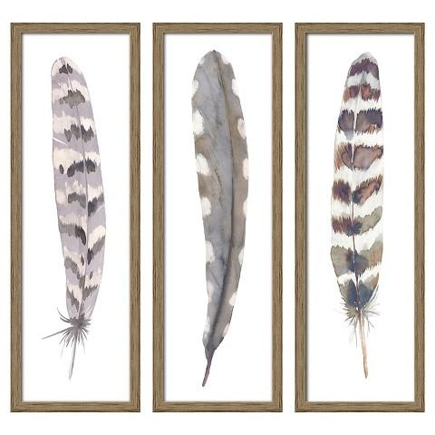 Brown Framed Three Pack Gray Feathers Art
