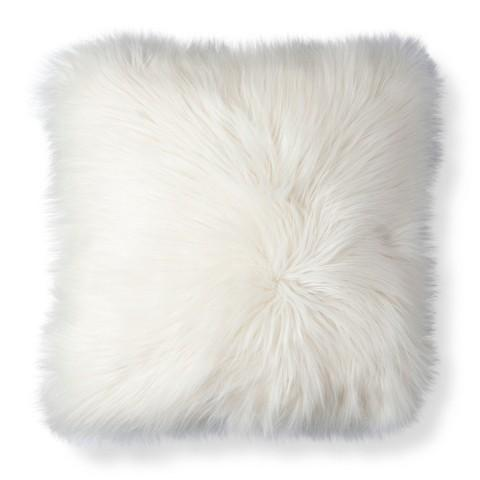 Threshold White Fur Decorative Pillow