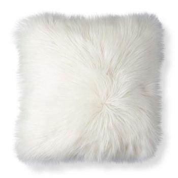 Threshold long haired gray fur pillow for White faux fur pillow