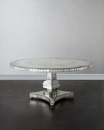 JohnRichard Collection Tonya Silver Mirrored Dining Table - Silver mirrored dining table