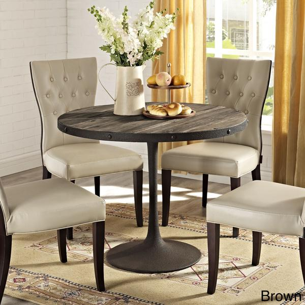 Wood And Metal Round Dining Table Part - 42: Drive Brown Wood Top Dining Table View Full Size