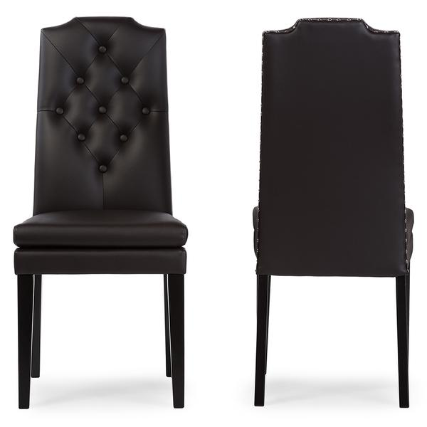 Beautiful Baxton Studio Dylin Contemporary Dark Brown Faux Leather With Button Tufted  Nail Heads Trim Dining Chair