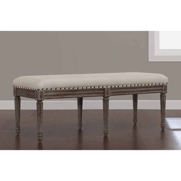 Amazing Elements Weathered Espresso Off White Upholstered Dining Bench