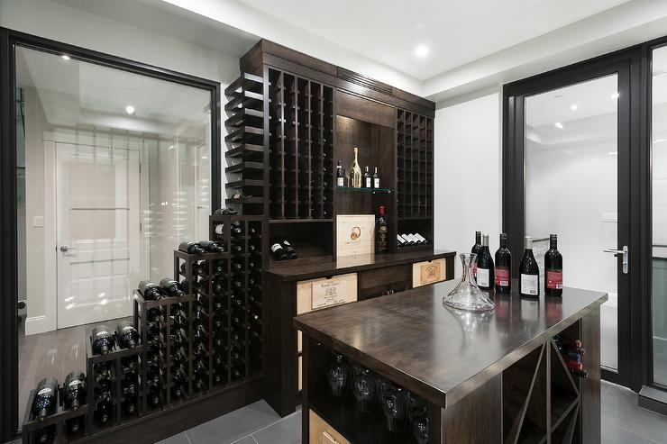 Basement Wine Cellar With Glass Sliding Doors