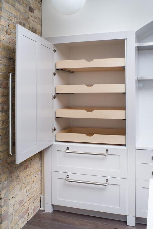 Hidden pantry with stacked pull out shelves transitional for Pull out drawers for kitchen cabinets