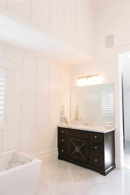 Espresso Bathroom Vanity With Diamond Pattern Marble Floors