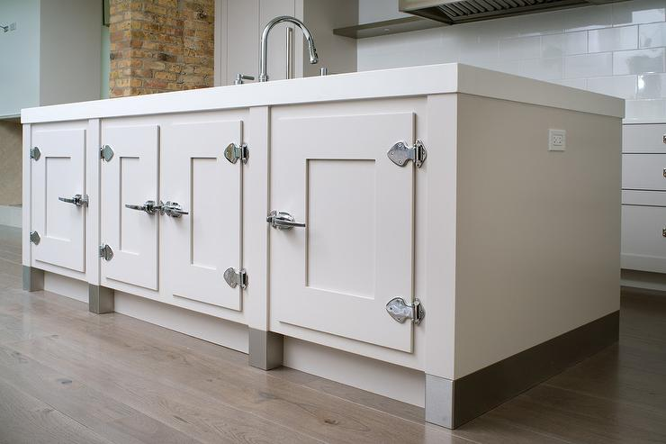 Kitchen Island Cabinets with Vintage Latch Hardware