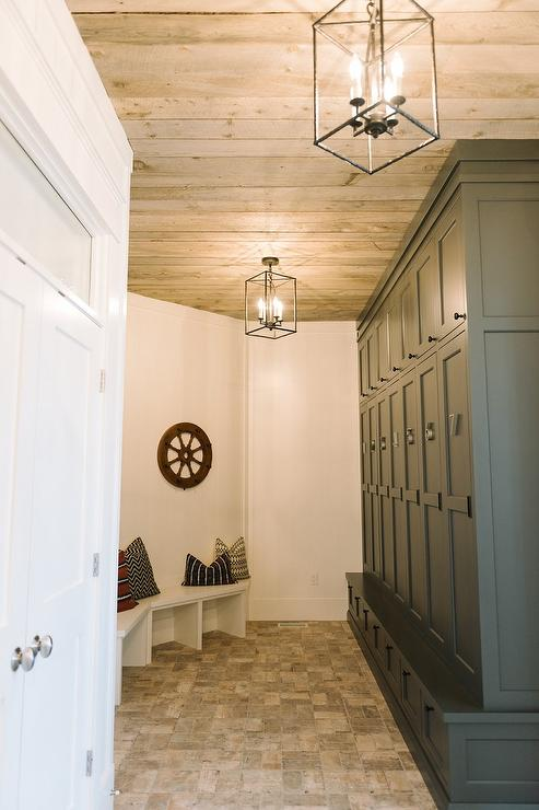 Mudroom With Plank Ceiling And Osborne Lanterns Cottage