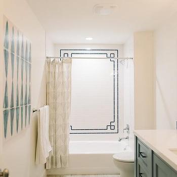 Shower With Black Greek Key Tiles