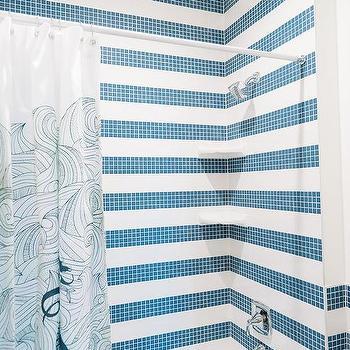 Blue Kids Bathroom With Blue Shower Tiles