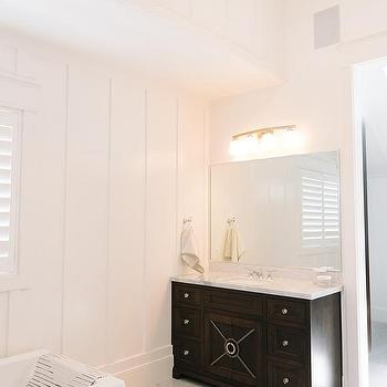 'Espresso Bathroom Vanity with Diamond Pattern Marble Floors' from the web at 'https://cdn.decorpad.com/photos/2015/12/18/m_high-bathroom-ceiling-dark-brown-washstand-4-light-wall-sconce.jpg'