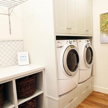 Drying Rack Hanging Over Washer And Dryer Transitional